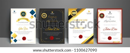 Appriciation certificate best award diploma set.