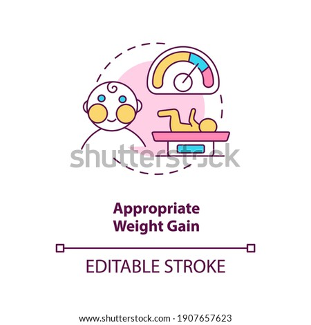 Appropriate weight gain concept icon. Breastfeeding pros. Getting more calories every day. Gaining lots of kilos idea thin line illustration. Vector isolated outline RGB color drawing. Editable stroke Stockfoto ©