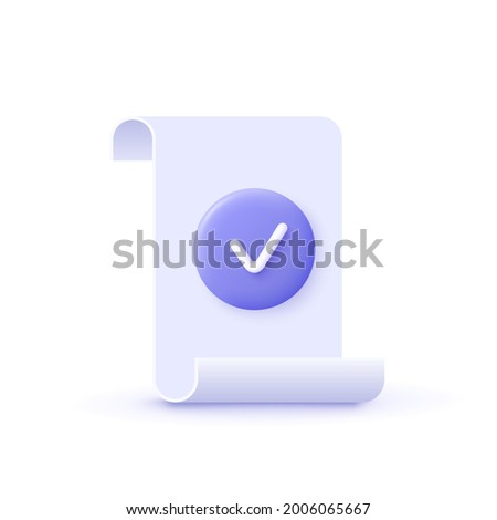 Approval icon, document accredited, authorized agreement, accreditation symbol with checkmark. 3d vector illustration.