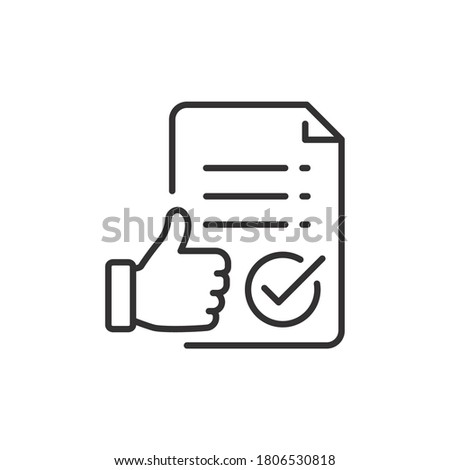 Approval icon, document accredited, authorized agreement, thin line symbol for web and mobile phone on white background - editable stroke vector illustration eps 10 Foto d'archivio ©