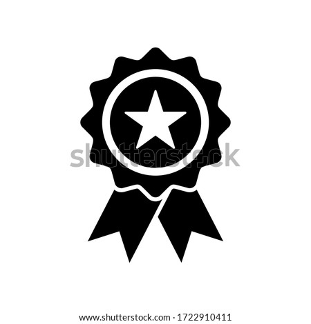 approval icon. star medal icon symbol vector on white background. editable Stockfoto ©