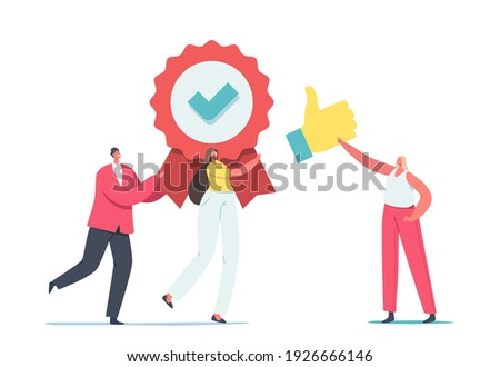 Approval, Quality Level Improvement Concept. Tiny Male and Female Characters Carry Huge Seal Stamp with Award Ribbon and Green Tick with Thumb Up, Like Satisfaction. Cartoon People Vector Illustration Сток-фото ©