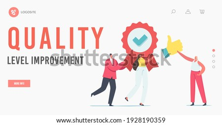 Approval, Quality Level Improvement Landing Page Template. Tiny Characters Carry Huge Seal Stamp with Award Ribbon and Green Tick with Thumb Up, Like Satisfaction. Cartoon People Vector Illustration Сток-фото ©