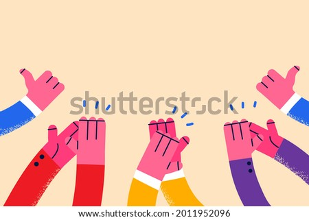 Approval, thumbs up, clapping concept. Human hands applauding in air with copy space approving something vector illustration