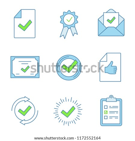 Approve color icons set. Document verification, award medal, email confirmation, certificate, check mark, review, checking process, quality badge, task planning. Isolated vector illustrations