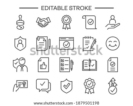 Approve editable stroke icons set Checklist, Award medal document Accepted Confirm mail Guarantee Check mark list Correct agreement accredited authorized Customs Seal stamp approved like paperwork Foto stock ©