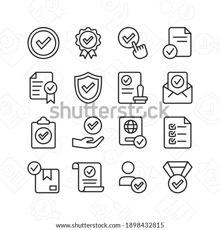 Approve icon set. Contains such Icons as quality check, checklist, and more. Line style design. Vector graphic illustration. Suitable for website design, app, template, ui. Stock photo ©