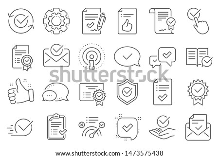 Approve line icons. Set of Checklist, Certificate and Award medal icons. Certified document, Accepted approve and Confirm mail. Guarantee, Check mark and Correct agreement. Checklist document. Vector