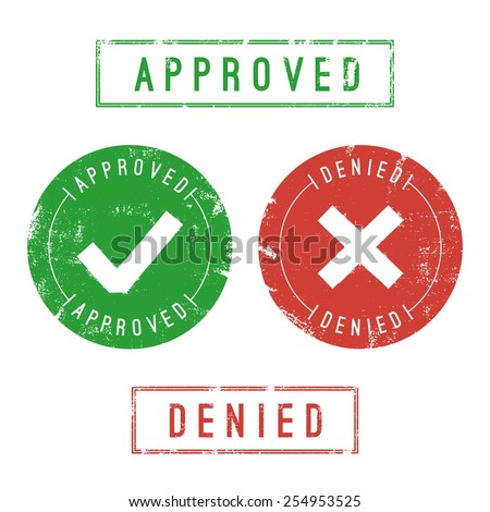 Approved and denied stamps. Vector format. Only solid fills used.