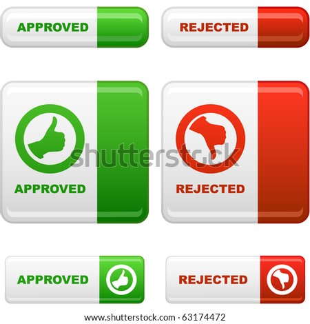 Approved and rejected button set. Vector collection.