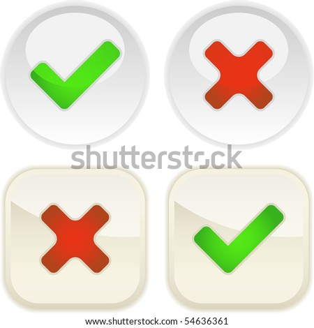 Approved and rejected buttons. Vector set.