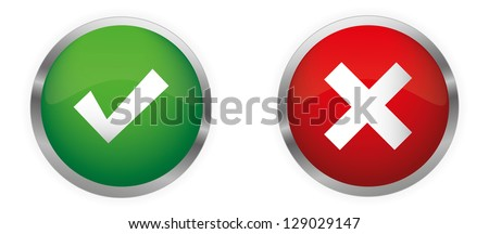 Approved and Rejected Glossy Buttons. Vector set.