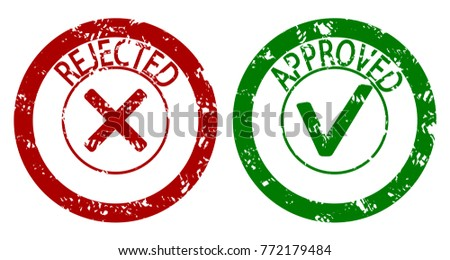 Approved and rejected rubber stamp. Approved imprint and rejected stamp grunge. Vector illustration