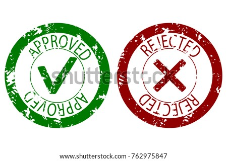 Approved and rejected stamp seal color. Vector imprint rubber label approval and denied illustration