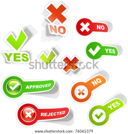 Approved and rejected web elements. Vector illustration.