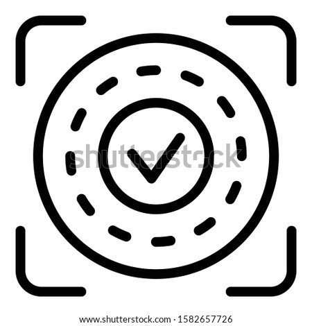Approved authentication icon. Outline approved authentication vector icon for web design isolated on white background