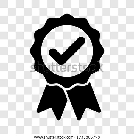 Approved badge sign. Black award ribbon medal symbol icon. Vector illustration transparent background. Stock photo ©