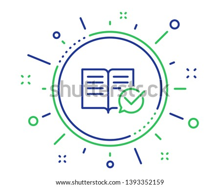 Approved documentation line icon. Accepted or confirmed sign. Instruction book. Quality design elements. Technology approved documentation button. Editable stroke. Vector