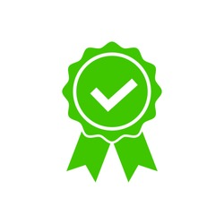 Approved icon in flat style. Certified medal symbol isolated on white background icon Simple award sign. Abstract rosette icon in black Vector illustration for graphic design, Web, UI, mobile upp