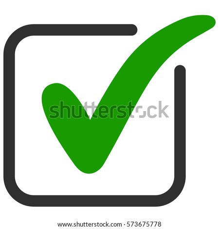 approved icon square with a green tick ok, vector Check mark in box sign.