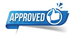 Approved icon. The blue label is accepted with the thumb up. The badge has been tested and verified. Vector illustration approved flag of quality check icon. Featured product with logo for promotion.