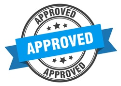 approved label. approved blue band sign. approved.  approved  stamp on white background