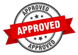 approved label. approved red band sign. approved