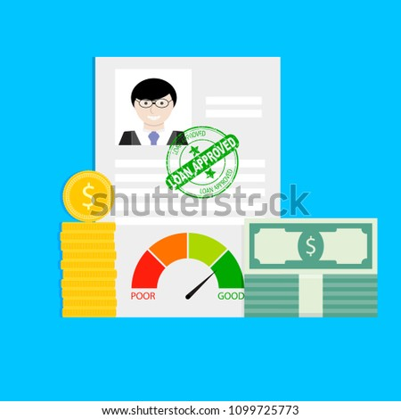 Approved loan in bank for individuals. Approval mortgage and approve application for loan finance, customer rating individual. Vector illustration