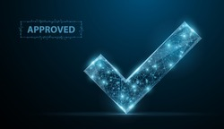 Approved. Low poly wireframe approved sign looks like constellation on blue night sky with dots and stars. Accept, approval success and confirmation symbol, illustration or background