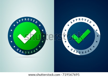 Approved medal. Round stamp for approved and tested product, software and services. Vector illustration in modern gradient style
