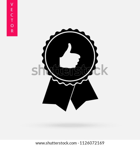 Approved or certified medal icon in a flat desing
