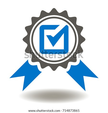 Approved or Certified Medal Icon Vector. Checking Quality Logo Symbol.