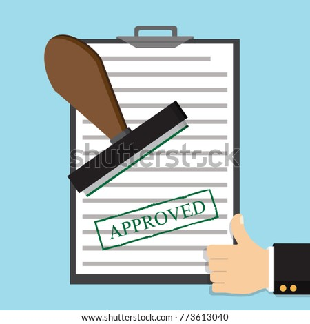 Approved paper document, green approved stamp. Vector flat illustration
