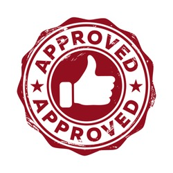 Approved. Red stamp icon with a raised finger up