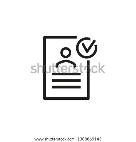 Approved resume line icon. Document, cv, resume. Checking resume concept. Can be used for topics like human resources, vacancy, applicant