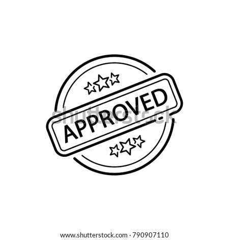 approved rubber stamp, line sign, icon vector