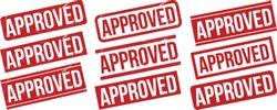 Approved rubber stamp set. Red Approved rubber grunge stamp vector illustration - Vector