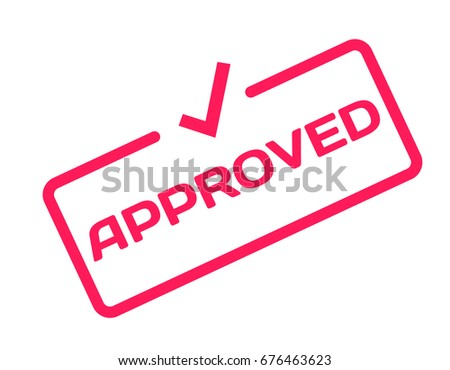 Approved stamp in flat minimalistic style on white background. Confirm dialog bubble icon with mark V. Vector