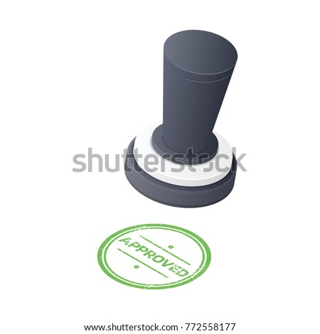 Approved Stamp isolated on white background. Isometric Vector illustration.