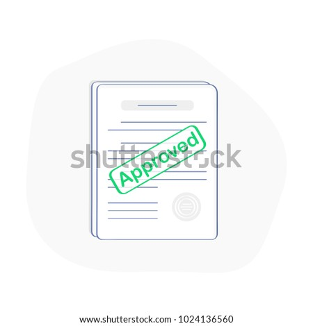 Approved stamp on the stack of paper sheets. Authorization Approval Document, Confirmed Doc, License icon, Approved application. Flat outline modern icon concept design.