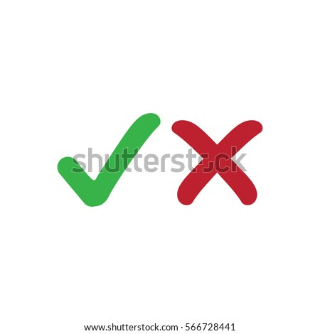 Approved tick an rejected cross red and green, vector