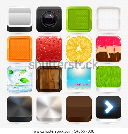Apps icon set: strawberry, orange, camera, cake, summer beach and ice, wood and steel textures, colorful frames.
