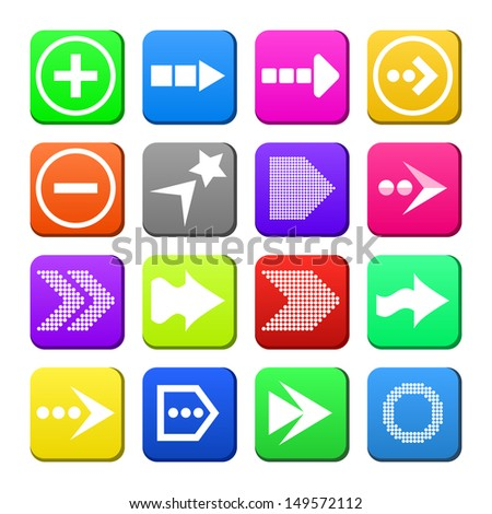 Apps navigation flat icons set with arrows as trendy design for UI. Vector illustration.