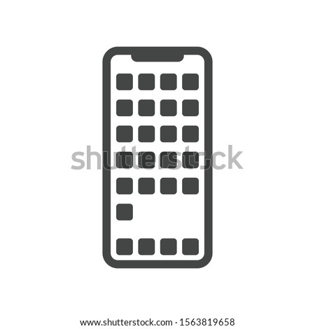 Apps on smartphone screen icon isolated on white background. Iphone symbol modern, simple, vector, icon for website design, mobile app, ui. Vector Illustration