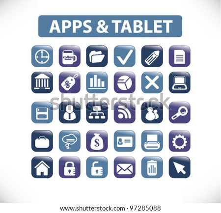 apps & tablet icons & buttons, vector - stock vector