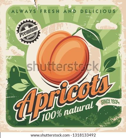 apricots vintage poster design
