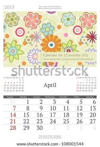 April. 2013 calendar.