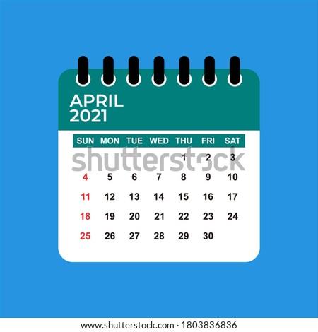 April 2021 Calendar. April 2021 Calendar vector illustration. Wall Desk Calendar Vector Template, Simple Minimal Design. Wall Calendar Template For April 2021.