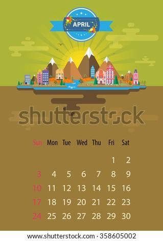 april calendar for 2016 in a4
