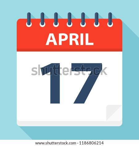 April 17 - Calendar Icon - Vector Illustration